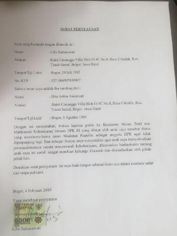 Surat pencabutan laporan yang ditandatangani ibunda Dita