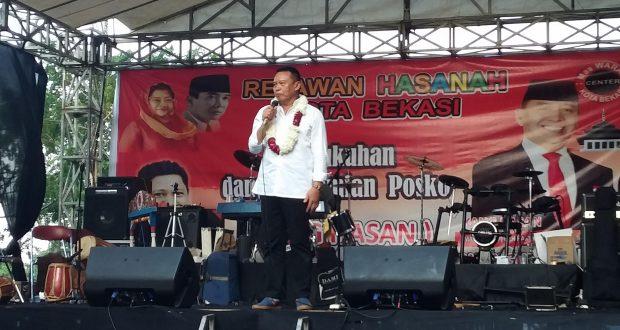 """Begini Celoteh Kang Hasan Saat Resmikan Posko """"Hasanah"""" Di Bekasi"""